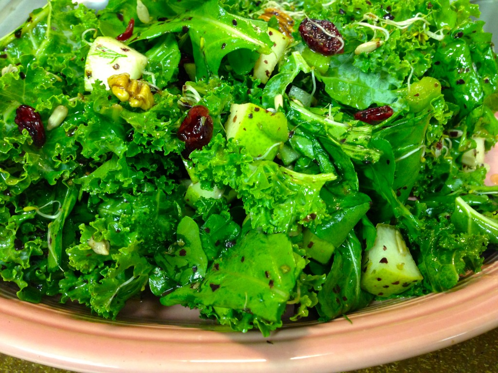 vegan harvest kale salad