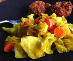 vegan curried cabbage