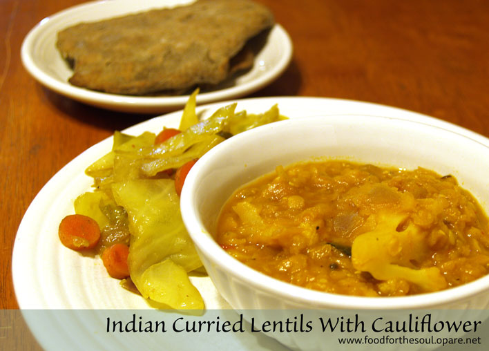 Indian Curried Lentils With Caulifower