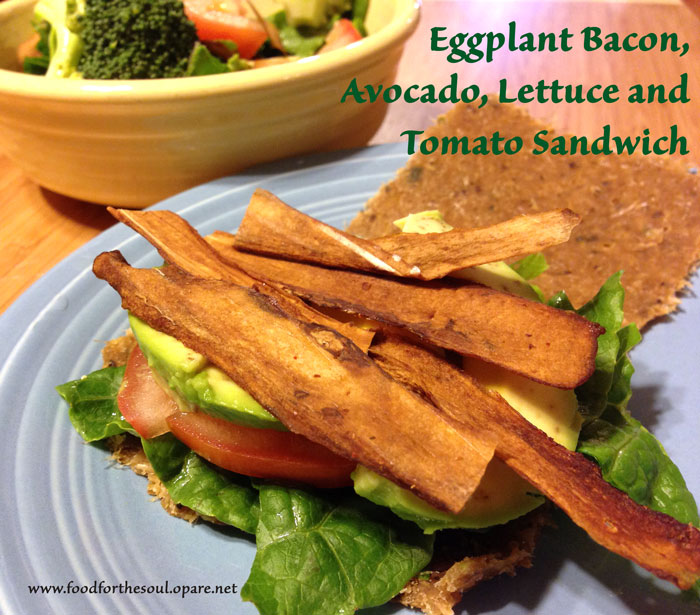 Eggplant bacon on sandwich