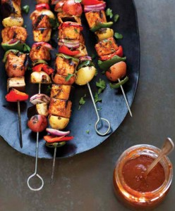 Summer Veg Kebabs with Pomegranate-Peach sauce