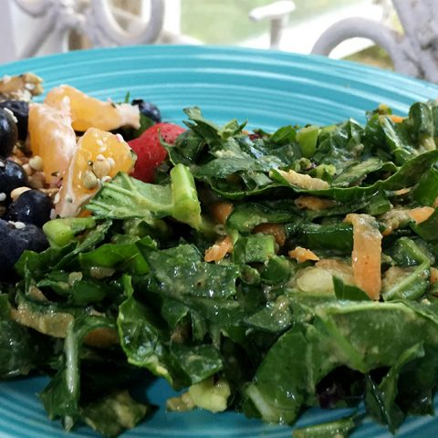 raw vegan collard green salad